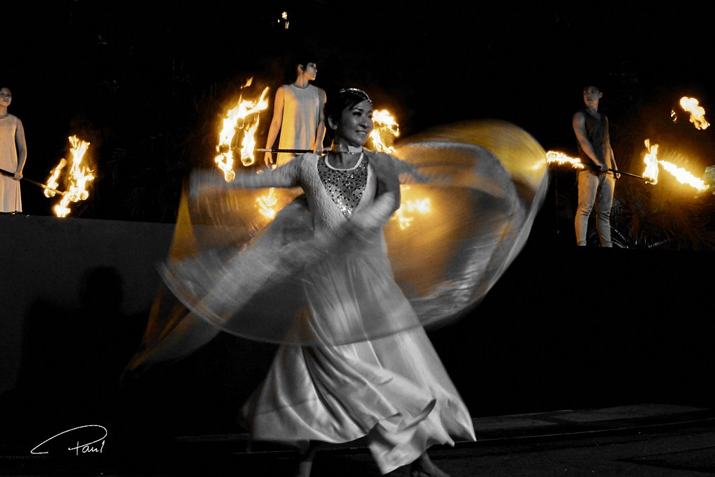 Dancing woman with fire